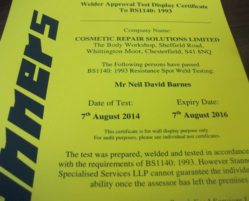 Neil Barns IMI Welding Certification